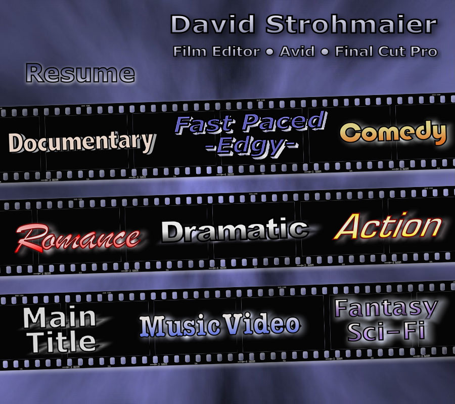 David Strohmaier - Film Editor - Avid - Final Cut Pro